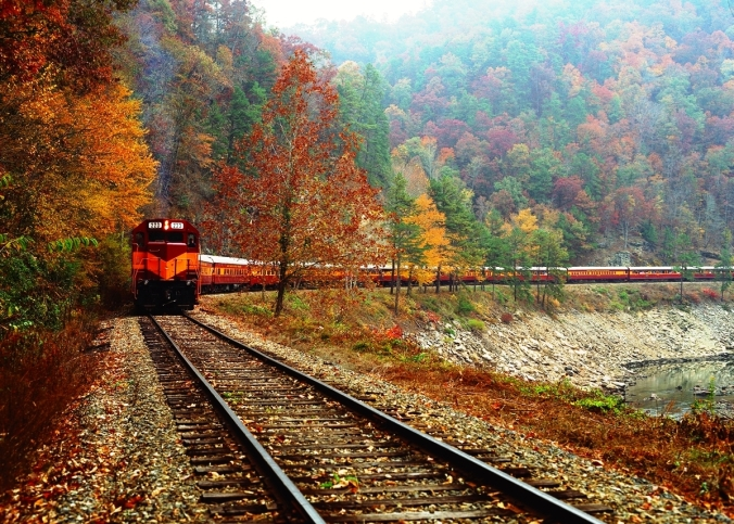high resolution diesel in fall foliage